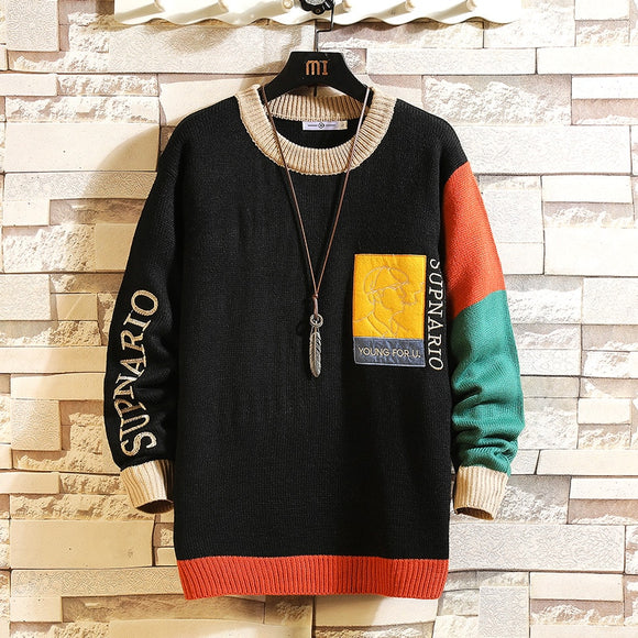 Men's Black Patchwork Long Sleeves Pullover Knitted