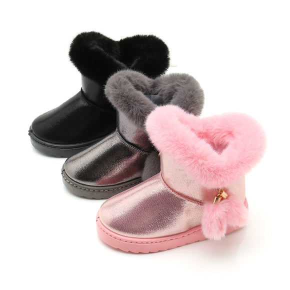 Girl Snow Boots Waterproof Kids Cotton Thicken Rubber Anti-Slip Sole Solid Color Cute Fur Ball