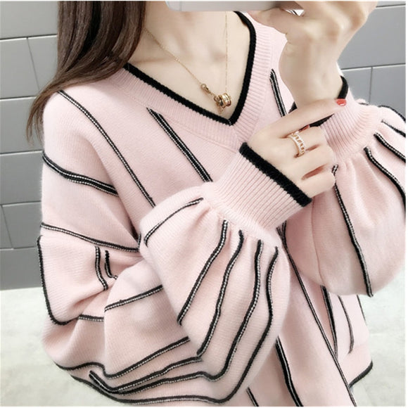 Autumn Winter New Knitted Sweater Women Loose wild V Neck Striped Pullover