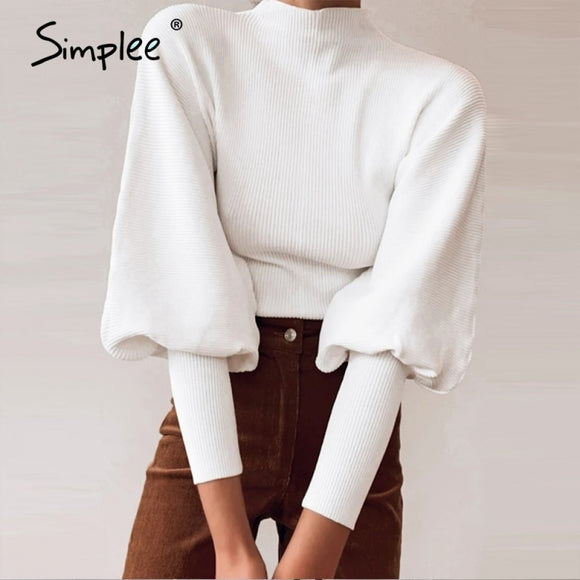 Simplee knitted High collar Lantern Sleeve loose women's sweater