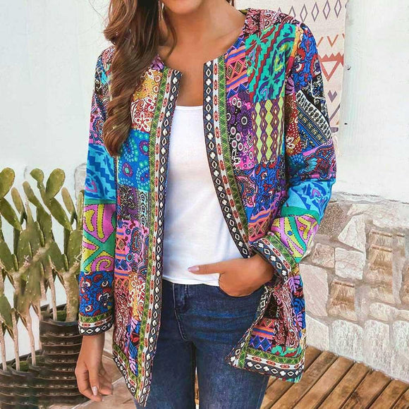 Ethnic Floral Print Long Sleeve Loose Jacket Coat Cardigan