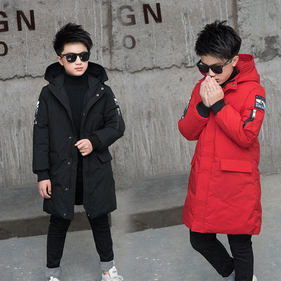 -30 Degree Children's Parka Winter Jackets Boys Warm Down Cotton-padded Coat Teen Thickening Clothes