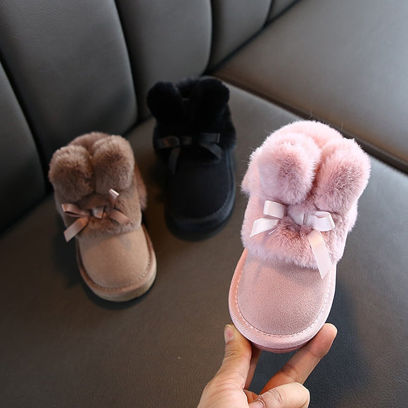 Rabbits Ears Boots Girls Suede Toddler Warm Fur Kids Winter Shoes
