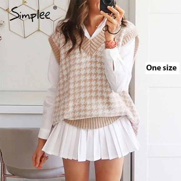 Simplee Women geometric khaki knitted sweater casual