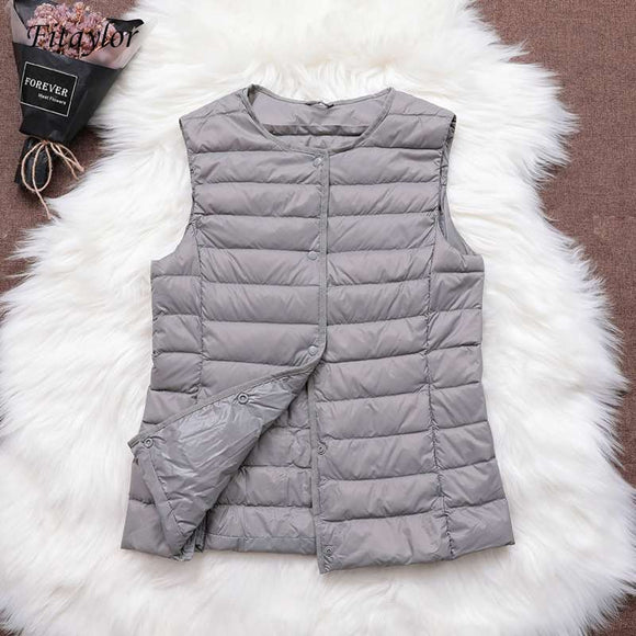 Fitaylor Ultra Light White Duck Down Vest Thin Coat