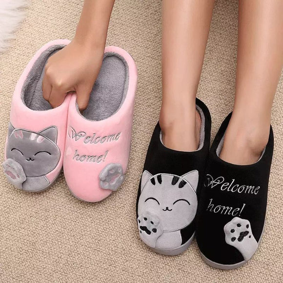 Women Winter Home Slippers Unisex Cartoon Cat Non-slip Soft Warm Shoes