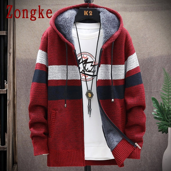 Zongke Cardigan Coats Thick Hooded Sweater Striped