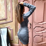 Women Sexy Bodycon Dress Pure V Neck Off Shoulder Lantern