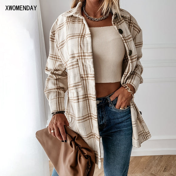 Long Plaid Shirt Casual White Long Sleeve Pocket Button Up