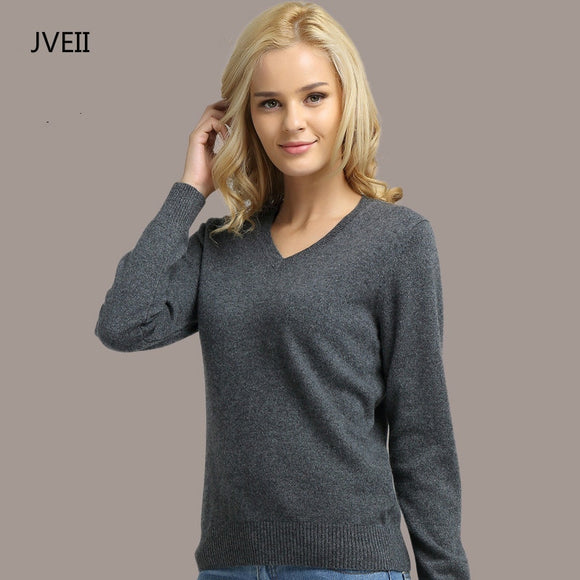 JVEII Women Sweater Knitted Long Sleeve V-neck Cashmere Sweater