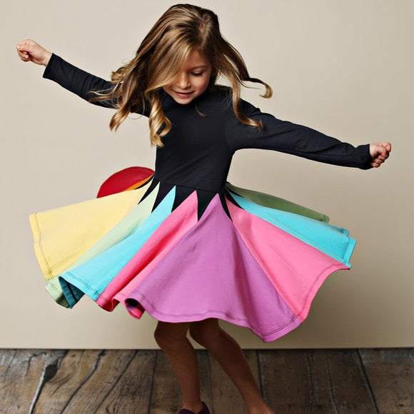 Winter Rainbow Long Sleeve Cotton Color Block Party Dress
