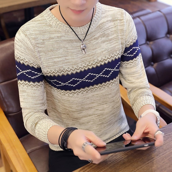 Men Long Sleeve Knitted Sweater Pullovers Coat