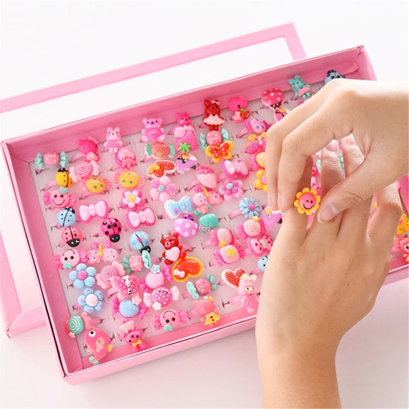 Children's Cartoon Candy Flower Animal Bow Shape Ring Set