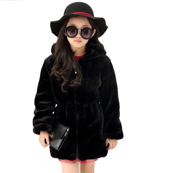 Girls Faux Fur Coat Winter Long Sleeve Hooded Warm Jacket Imitation Rabbit Fur Long Coat For Kids 8-13 Year