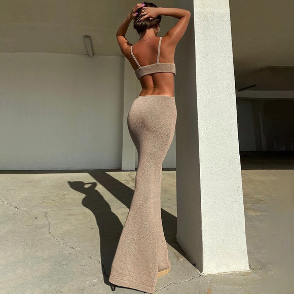 BOOFEENAA Vacation Knitted Party Cut Out Backless Bodycon Dress