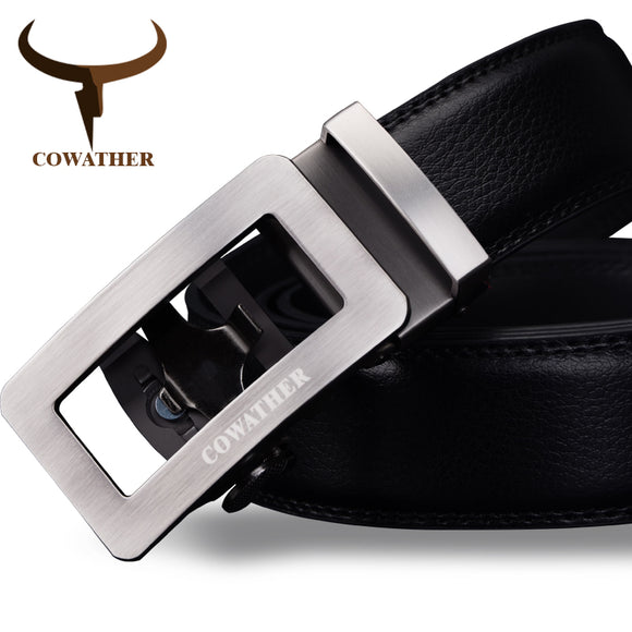 COWATHER mens cow genuine leather automatic buckle belt