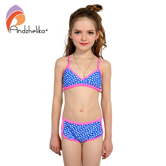 Andzhelika Swimsuit Girl's Bikini Cute Heart Swimwear Summer Child Patchwork Swim Suit Children Sport Bikini Set Kids Bodysuits