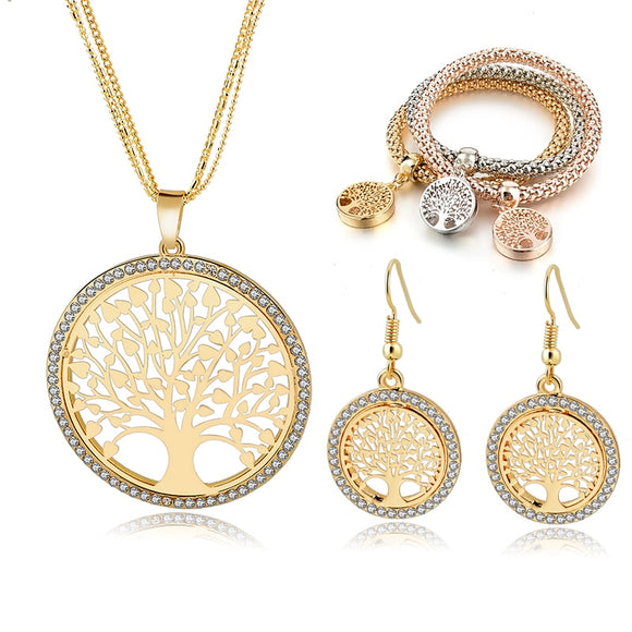 Gold Color Tree Of Life Jewelry For Girls Necklace Earring Braceiet
