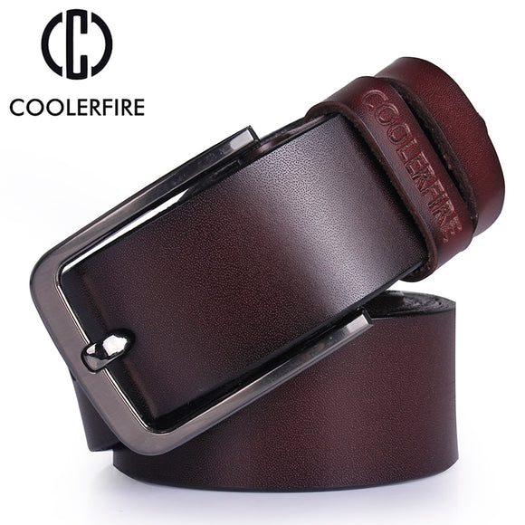 Genuine leather belt designer luxury strap vintage pin buckle
