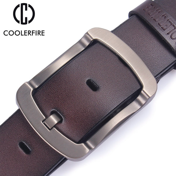 Coolerfire cowhide genuine leather black jeans strap vintage men belts
