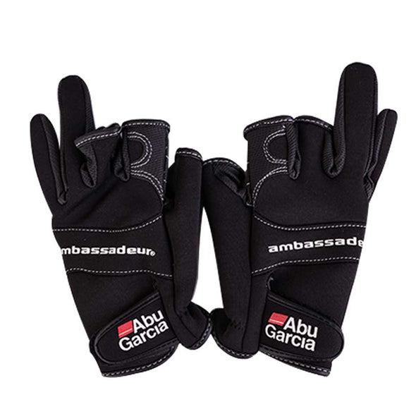 leather gloves for fishing glove three figner High-quality