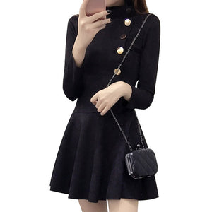 Suede dress fall and winter fashion long-sleeved A-line dress