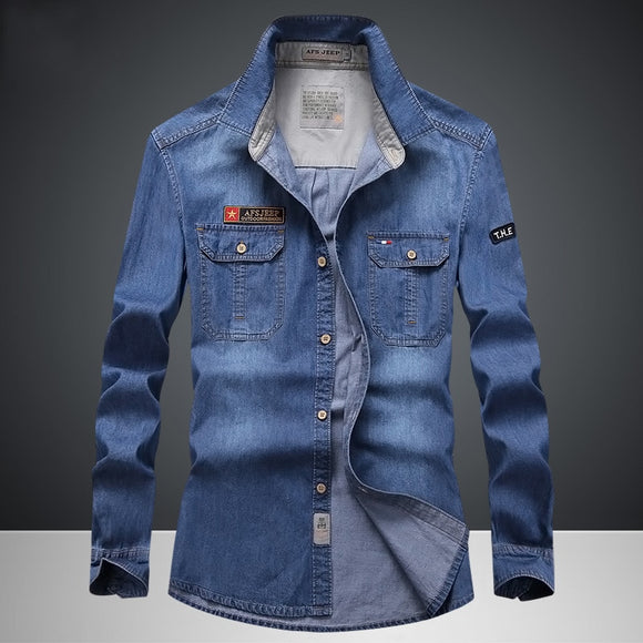 Brand Clothing Denim Shirts Men Casual Shirt Long Sleeve Fashion Slim Camisa Jeans Men's Denim Shirts 4XL US Euopean Style