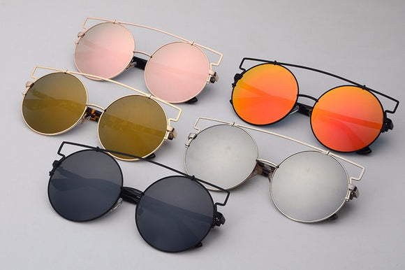 Women Double Wire Oversized Sun glasses Big Round Bohemian Vintage