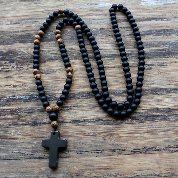 Black stone Wood Beads with black stone cross Pendant Mens Rosary