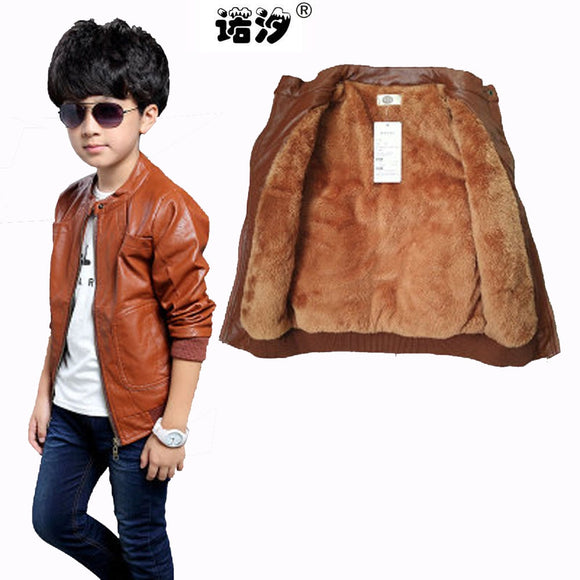 Children clothing PU leather winter jacket inside boys coat