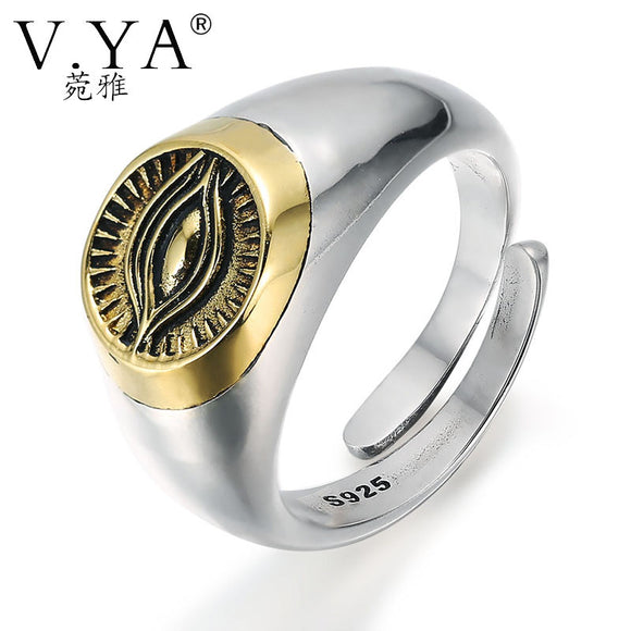 100% Real Pure 925 Sterling Silver Ring Thai Silver Ring Eye of Providence Rings for Men / Women Ringent Finger Ring HYR13