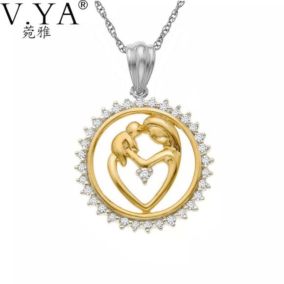 100% Real Pure S925 Sterling Silver Mother and Child Pendant Golden 925 Silver Love Heart Pendant Gift for Mom Mother's Day Gift