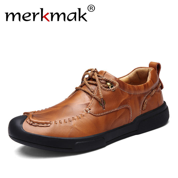 Merkmak 2017 New Arrival Men Casual Shoes Luxury Brand Comfortable Breathable Fashion Genuine Leather Men Shoes Drop Shipping