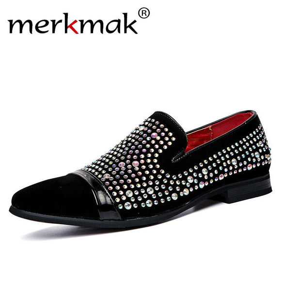 New Suede Leather Luxury Brand Crystal Fashion Men's Flats Male Prom Wedding Party Shoes