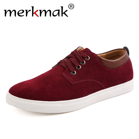 Merkmak Brand Men Casual Shoes Big Size 39-49 Comfortable Spring Autumn Fashion Breathable Suede Leather Mens Flats Shoes