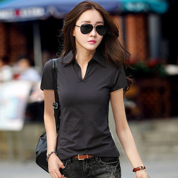 New Polo Women Short Sleeve  For Women Cotton Tops Tees Ladies Polo