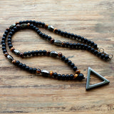 Tiger stone bead Black Hematite triangle pendants Necklace