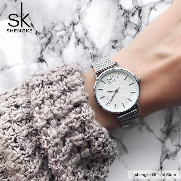 SK Super Slim Sliver Mesh Stainless Steel Watches Women Top Brand Luxury Casual Clock Ladies Wrist Watch Lady
