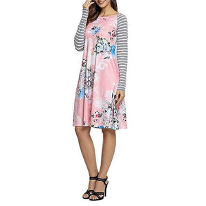 Fashion Women Autumn Dress Floral Printed O-Neck Stripe Casual Knee-Length Long Sleeve Dress For Women Plus Size