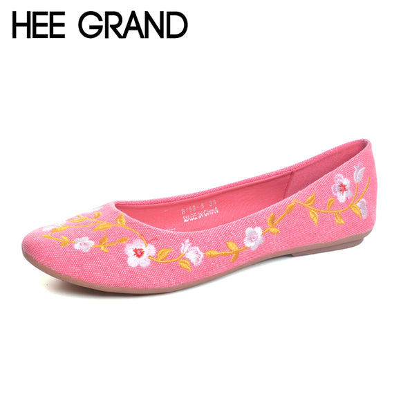 HEE GRAND Flowers Creepers Bohemia Ballet Flats Shoes Woman Loafers Comfort Slip On Casual Women Shoes Plus Size 35-42 XWD6023