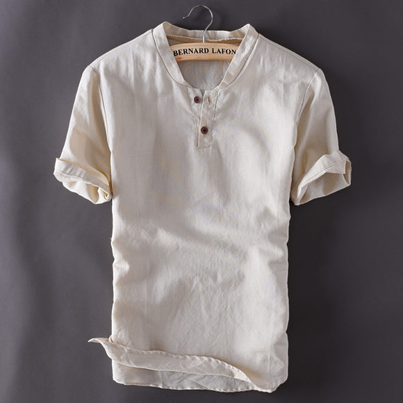Fashion Mens Pullover Linen Shirts Short Sleeve Summer