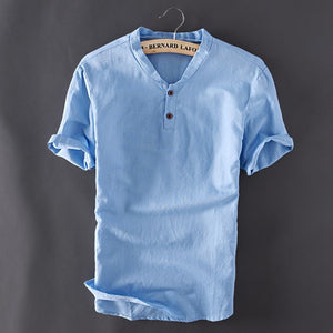 Fashionable Mens Pullover Linen Shirts Short Sleeve for Summer