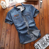 New Summer Mens Short Sleeves Denim Shirts Cotton Casual Shirts