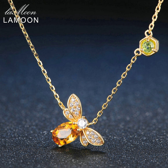 LAMOON Bee 100% Citrine Silver Jewelry 14K Yellow Gold Plated Pendant