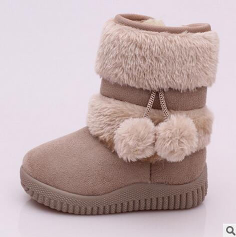 Winter Snow Comfortable Thick Warm Kids Boots Lobbing Ball Cute Shoes