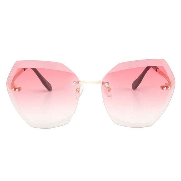Women Sunglasses Rimless Coating Gradient Colorful Lens Glasses