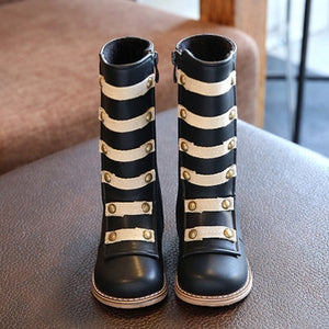 Girls Rivets Fashion Boots Tall Tube Boots Princess Shoes