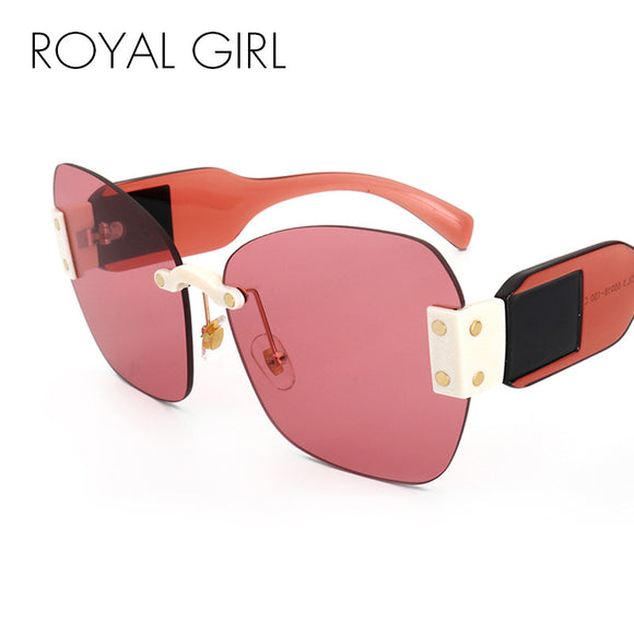 ROYAL GIRL Oversized Square Sunglasses Women Unique Brand Design Rimless Shades UV400 Eyewear ss369