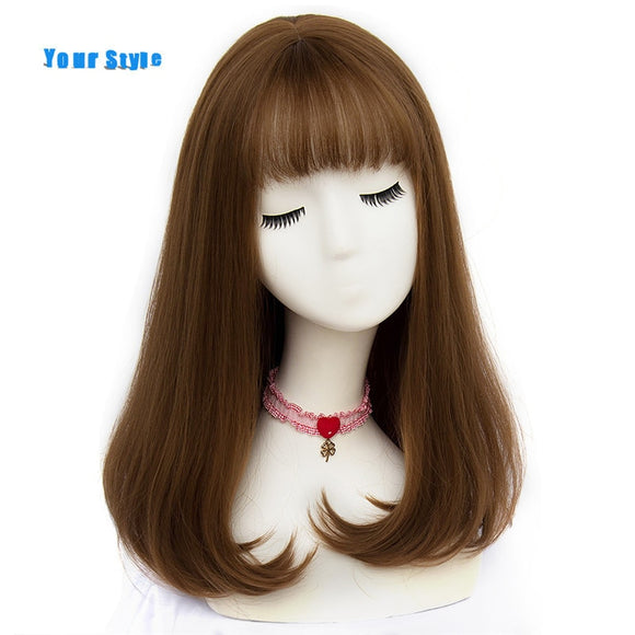 Synthetic Long Straight Natural Hair Wigs With Bangs Womens