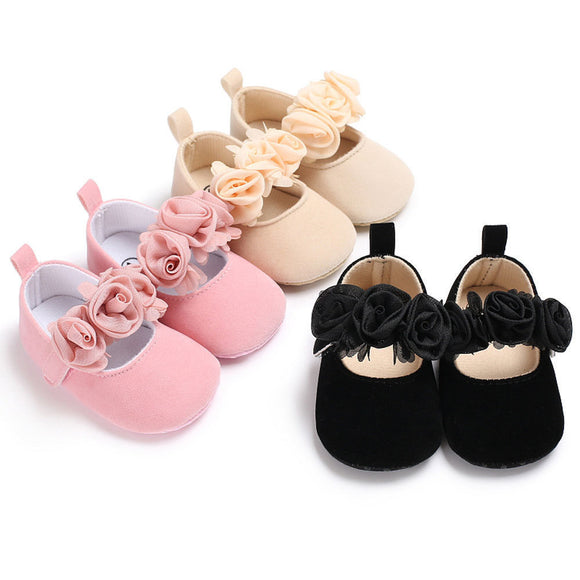 Lovely Floral Baby Newborn Toddler Girl Crib Shoes Pram Soft Sole Prewalker Anti-slip Baby Shoes 0-18M